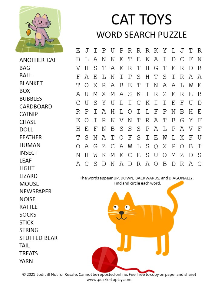 Cat Toys Word Search Puzzle