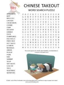 Chinese Takeout Word Search Puzzle