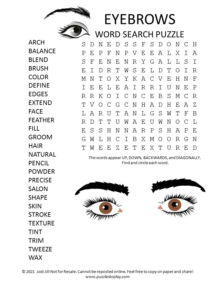 Eyebrows Word Search Puzzle