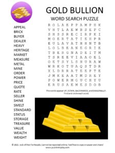 Gold Bullion Word Search Puzzle