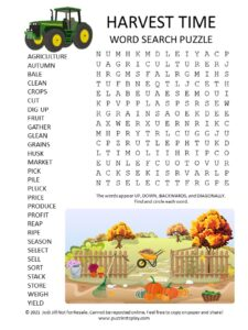 Harvest Word Search Puzzle