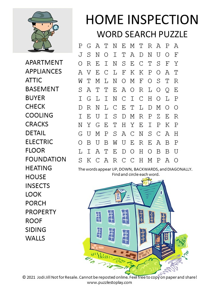 Home Inspection Word Search Puzzle
