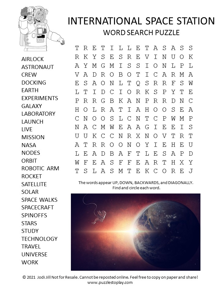 International Space Station Word Search Puzzle