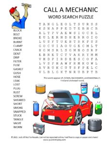 Mechanic Word Search Puzzle