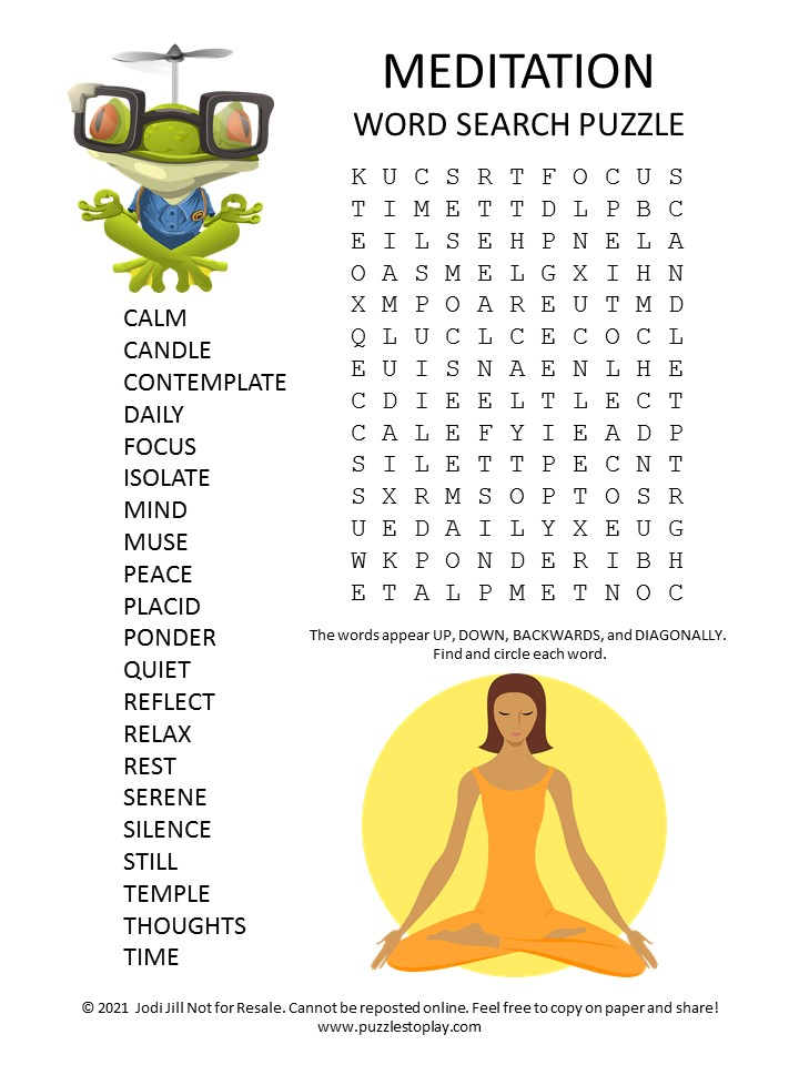 Meditation Word Search Puzzle