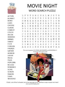 Movie Night Word Search Puzzle