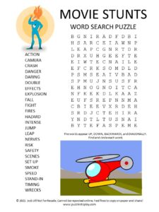 Movie Stunts Word Search Puzzle