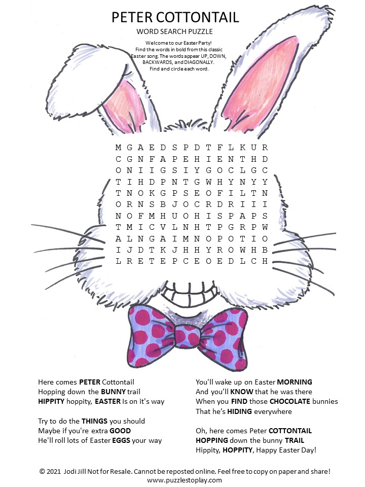 Peter Cottontail Word Search Puzzle