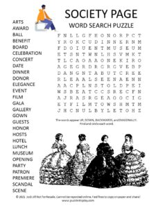 Society Page Word Search Puzzle