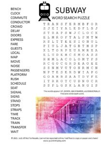 Subway Word Search Puzzle