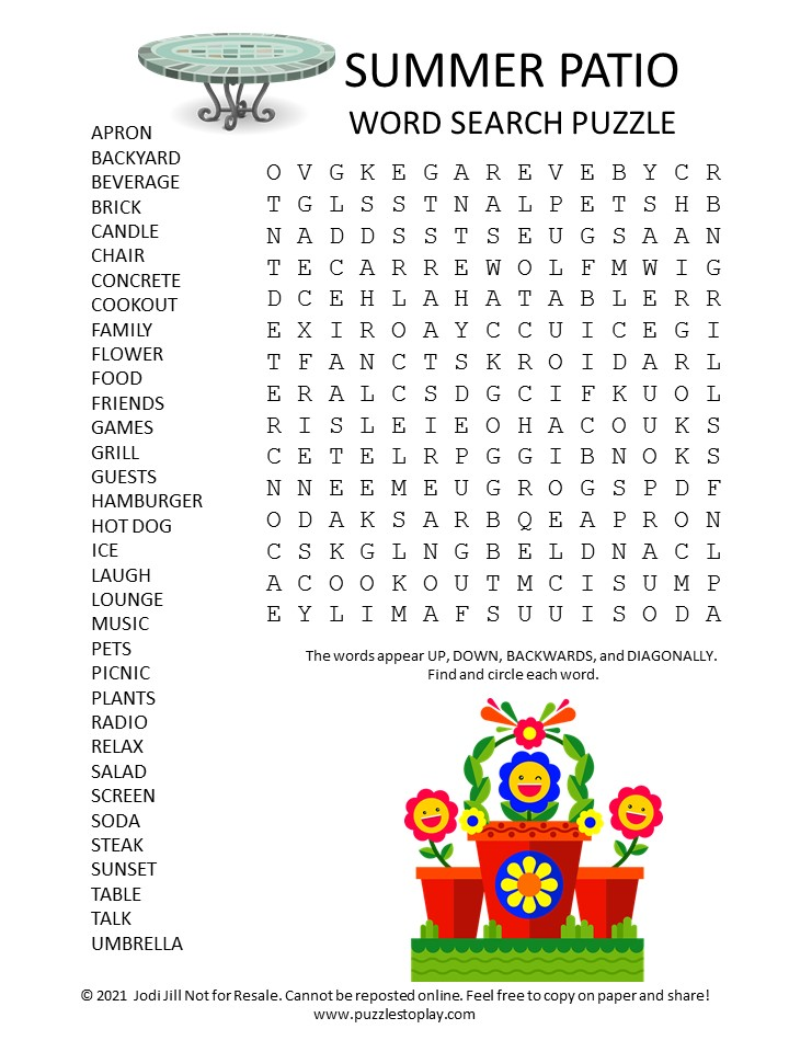 Summer Patio Word Search Puzzle