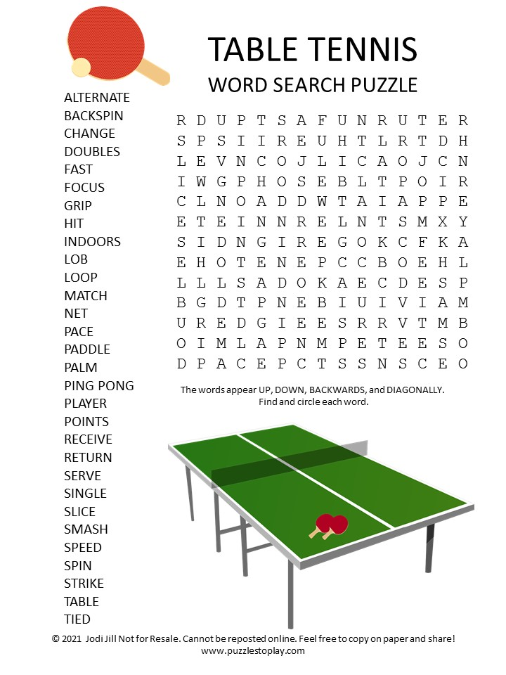 Table Tennis Word Search Puzzle