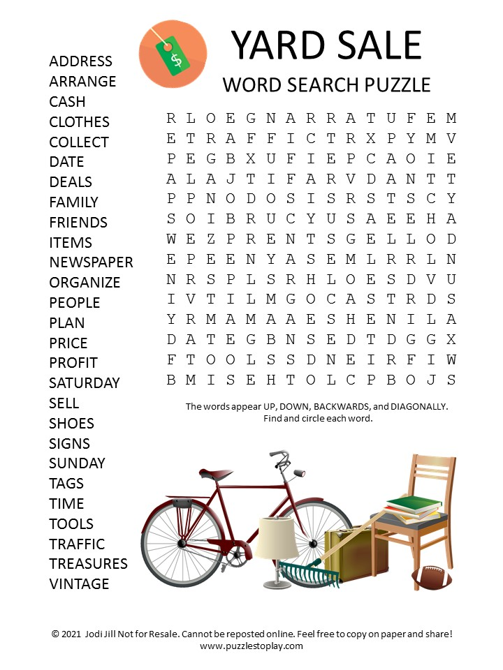 Yard Sale Word Search Puzzle