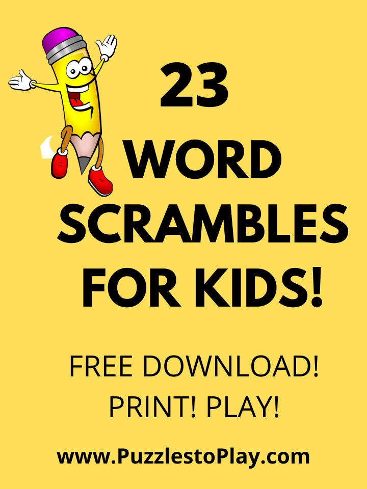 23 Free Printable Word Scrambles for Kids: Puzzle play