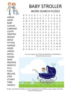 Baby Stroller Word Search Puzzle