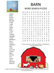 Barn Word Search Puzzle