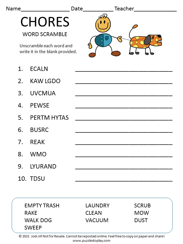 Chores word scramble for kids