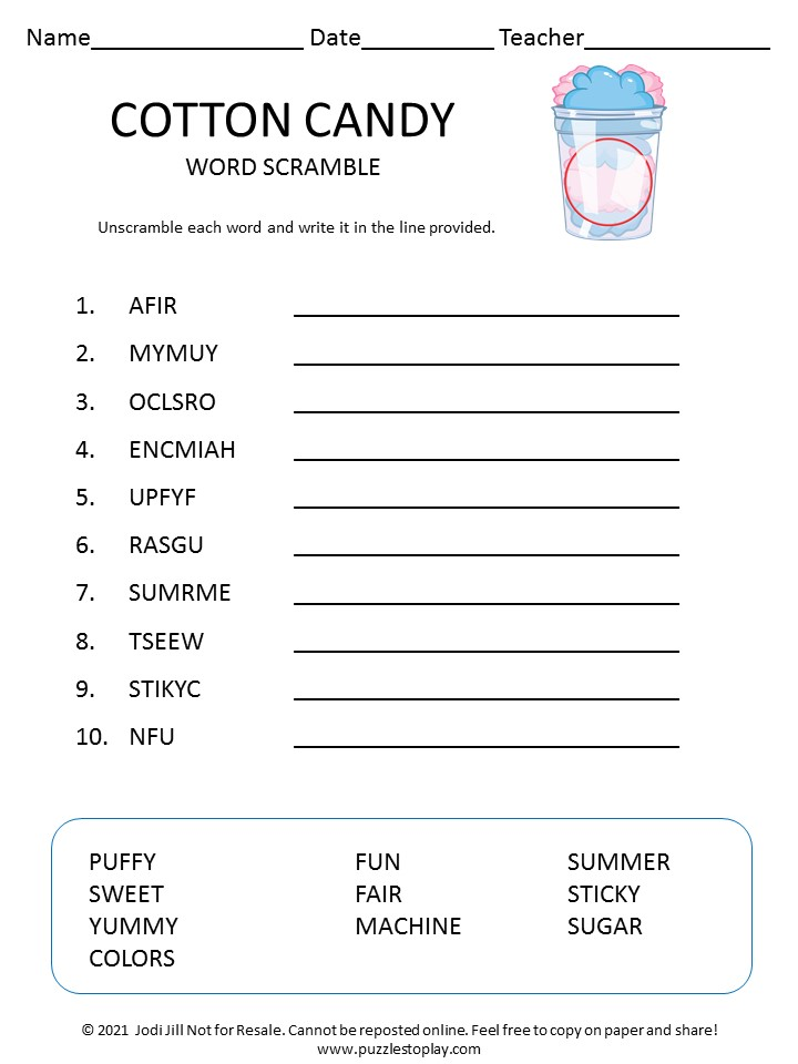 Cotton Candy word scramble for kids