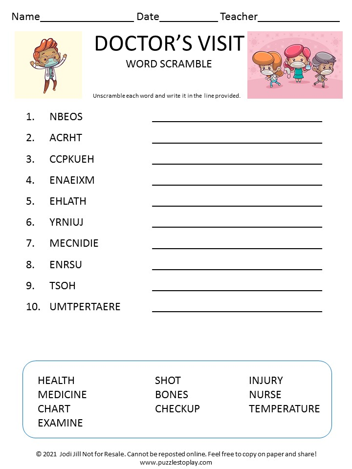 Doctor's visit word scramble for kids