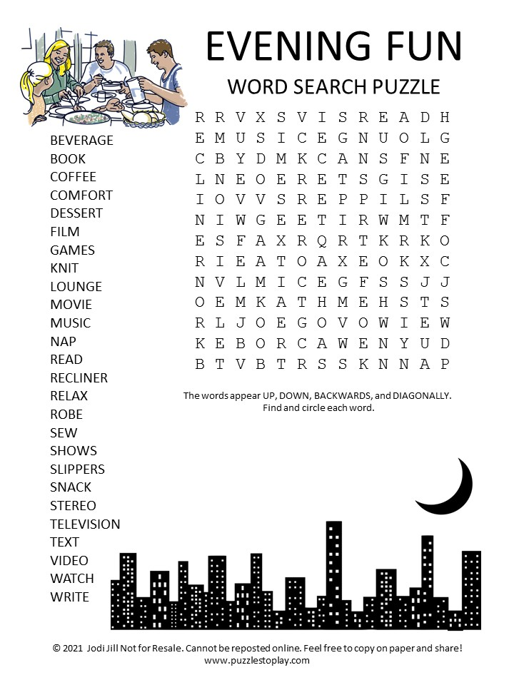 Evening Fun Word Search Puzzle
