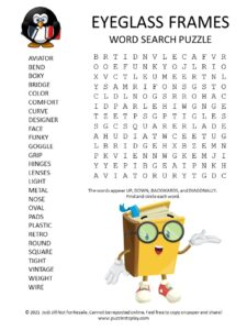 Eyeglass Frames Word Search Puzzle