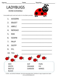 Ladybugs Word Scramble for Kids - Puzzles to Play