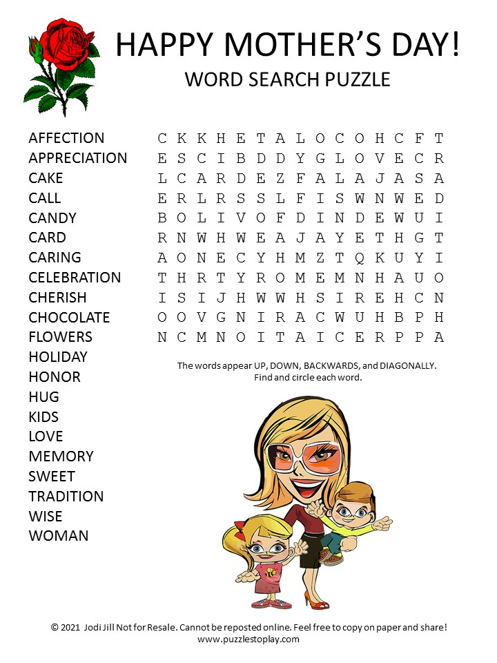 Mother's Day Word Search Puzzle
