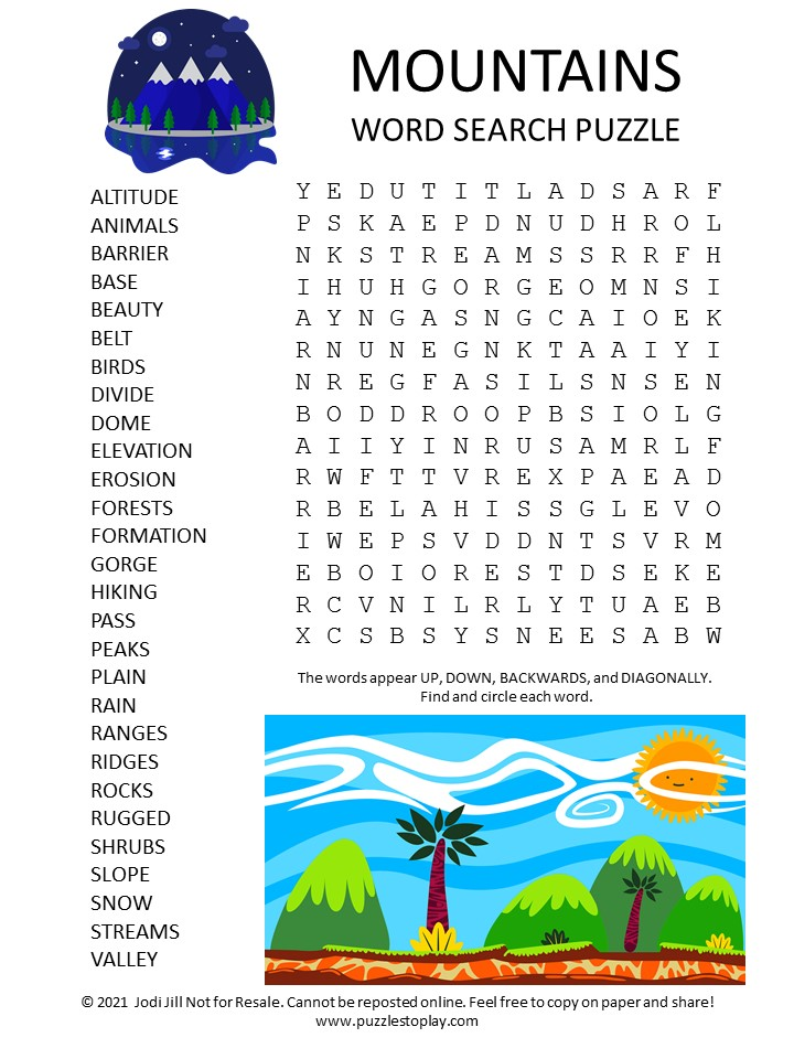 Mountains Word Search Puzzle