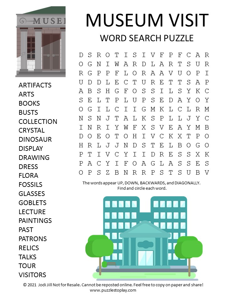 Museum Visit Word Search Puzzle
