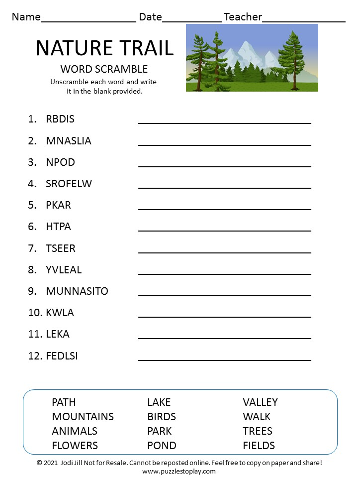 Nature Trails word scramble for kids
