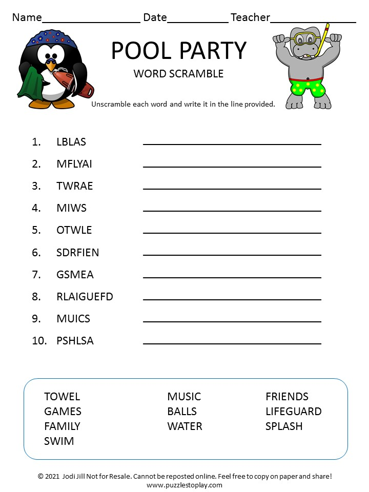 Pool Party word scramble for kids