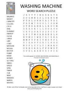 Washing Machine Word Search Puzzle