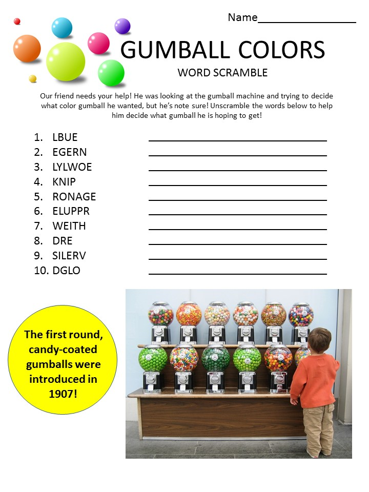 gumball colors word scramble for kids