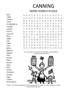 Canning Word Search Puzzle