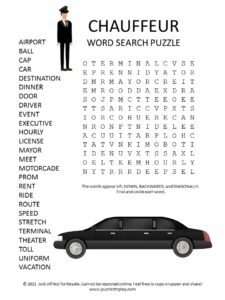Chauffer Word Search Puzzle