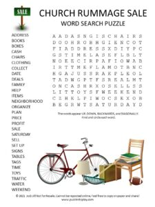 Church Rummage Sale Word Search Puzzle