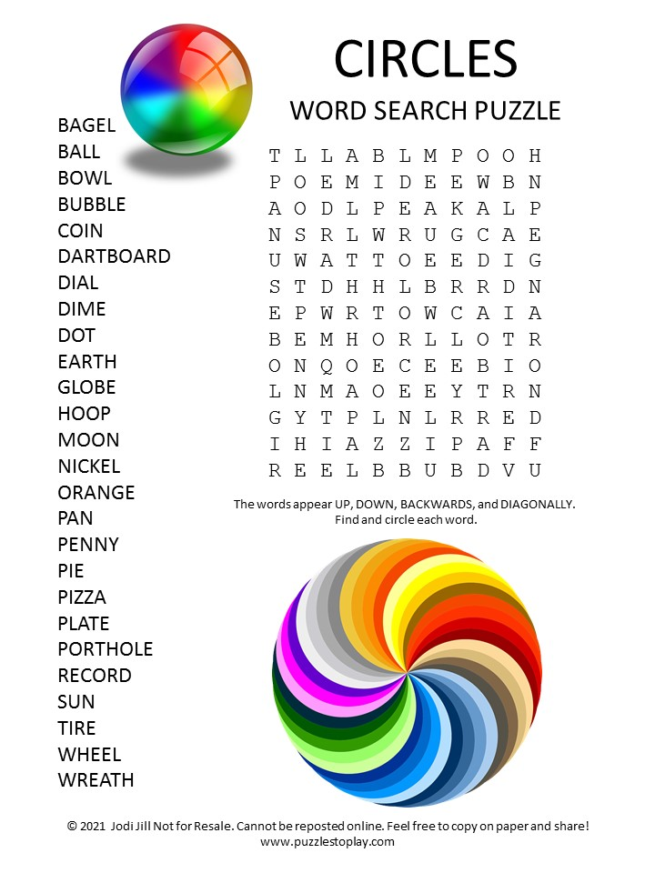 Circles Word Search Puzzle