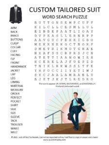 Custom Tailored Suit Word Search Puzzle