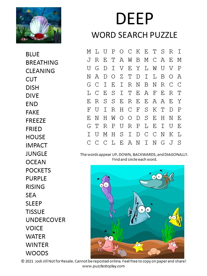 Deep Word Search Puzzle