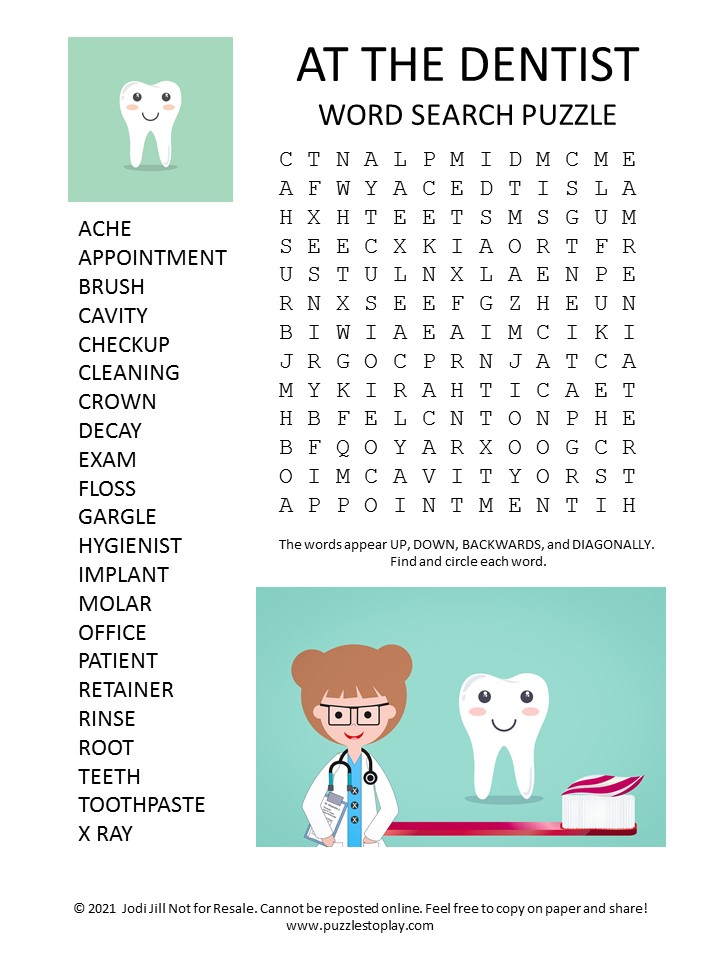Dentist Word Search Puzzle