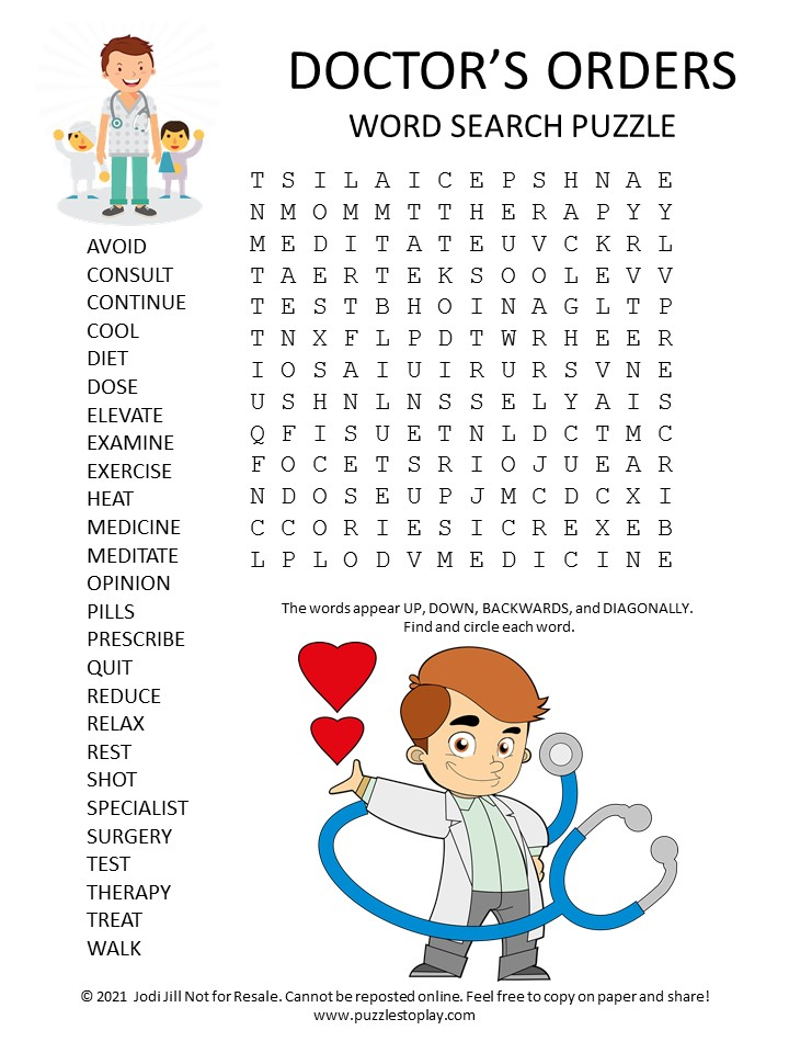 Doctors Orders Word Search Puzzle