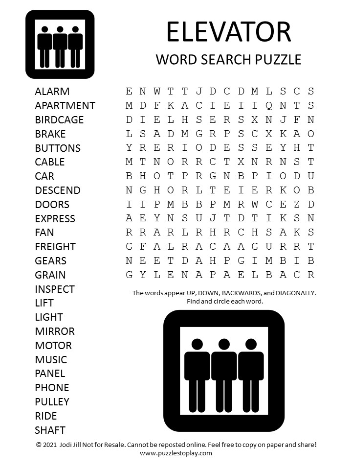 Elevator Word Search Puzzle