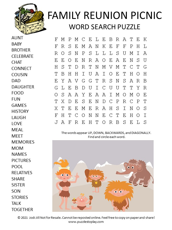 Family Reunion Picnic Word Search Puzzle