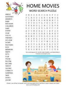 Home Movies Word Search Puzzle