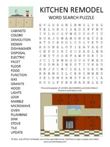 Kitchen Remodel Word Search Puzzle