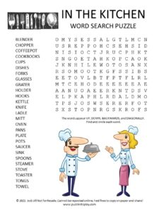 Kitchen Word Search Puzzle