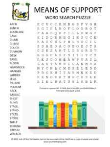 Means of Support Word Search Puzzle