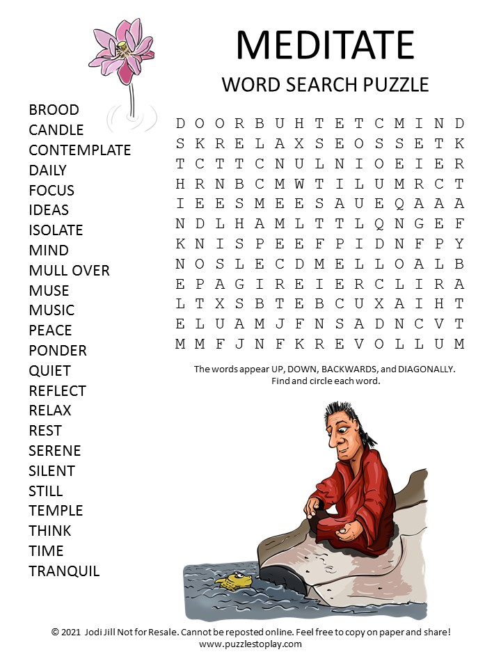 Meditate Word Search Puzzle