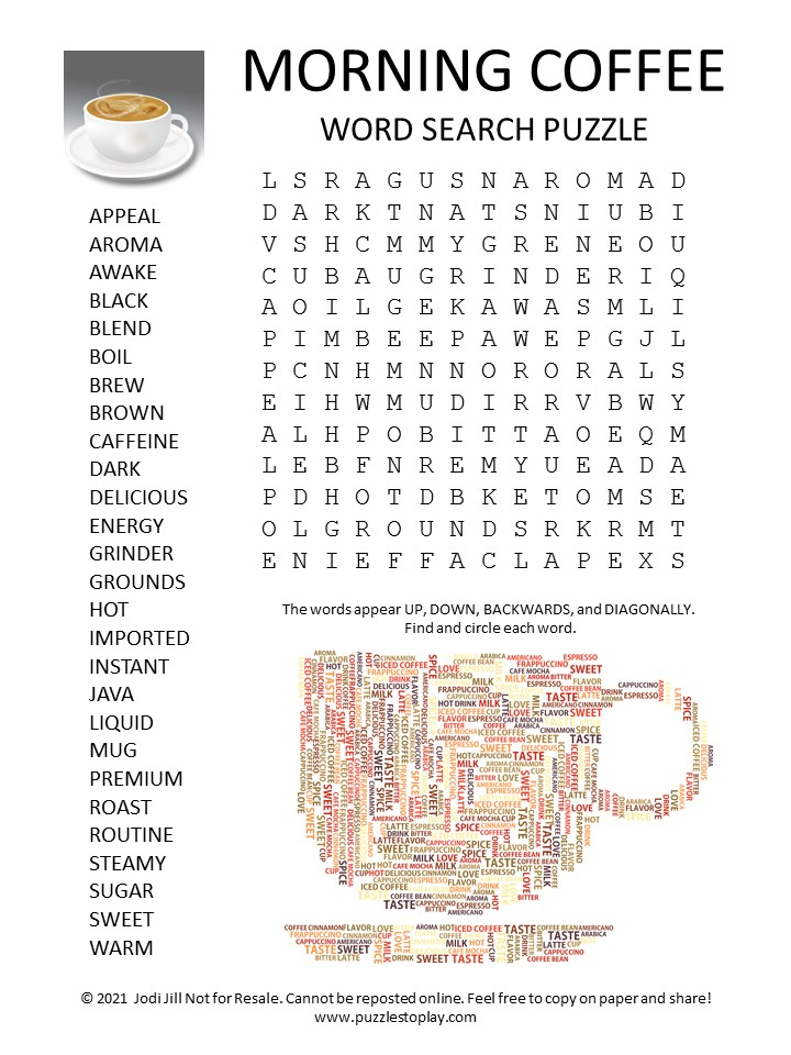 Morning Coffee Word Search Puzzle