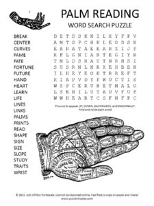Palm Reading Word Search Puzzle